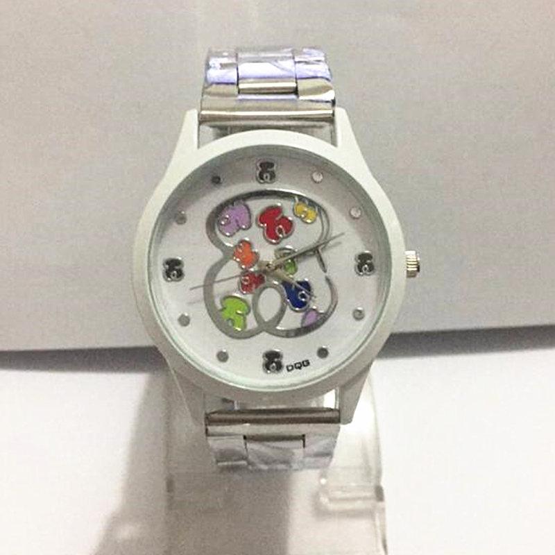 Хит 2019, Брендовые женские часы с медведем, стильные часы из нержавеющей стали, повседневные кварцевые часы, подарок для девочки, детские резиновые ручные часы, reloj mujer