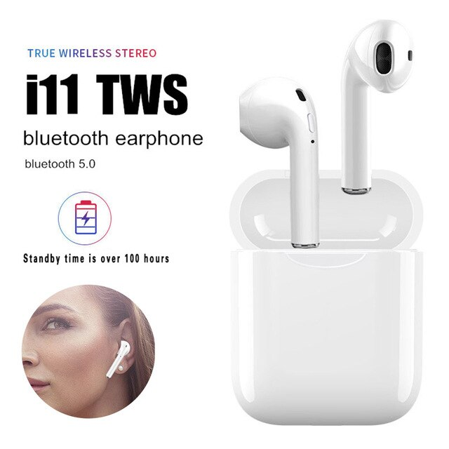 Auriculares i11 TWS con Bluetooth 5,0, auriculares inalámbricos, auriculares Mini i7s con micrófono para iPhone X, 7, 8, Samsung, Xiaomi, Huawei y LG