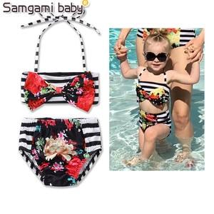SAMGAMI BABY Sandy Beach Stripe Dress Summer Suitable Strapless Coat Briefs Baby Girl Clothing Sunbathing Swimming Clothing Set
