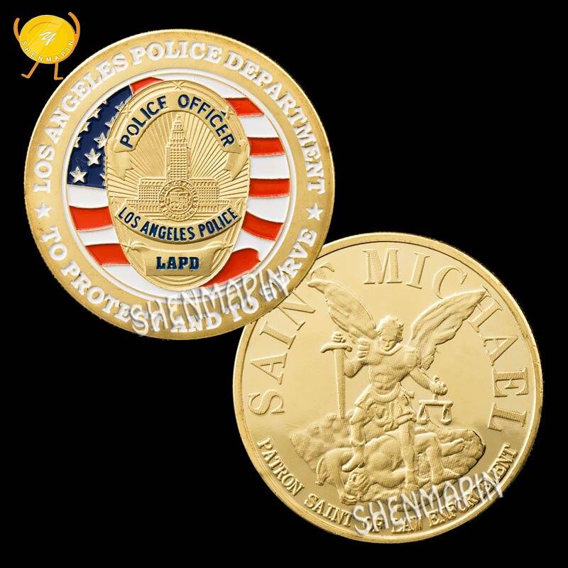 US Los Angeles Police Department Commemorative Coin Saint Michael Patron Saint Challenge Coin LAPD Honor Coins Collectibles