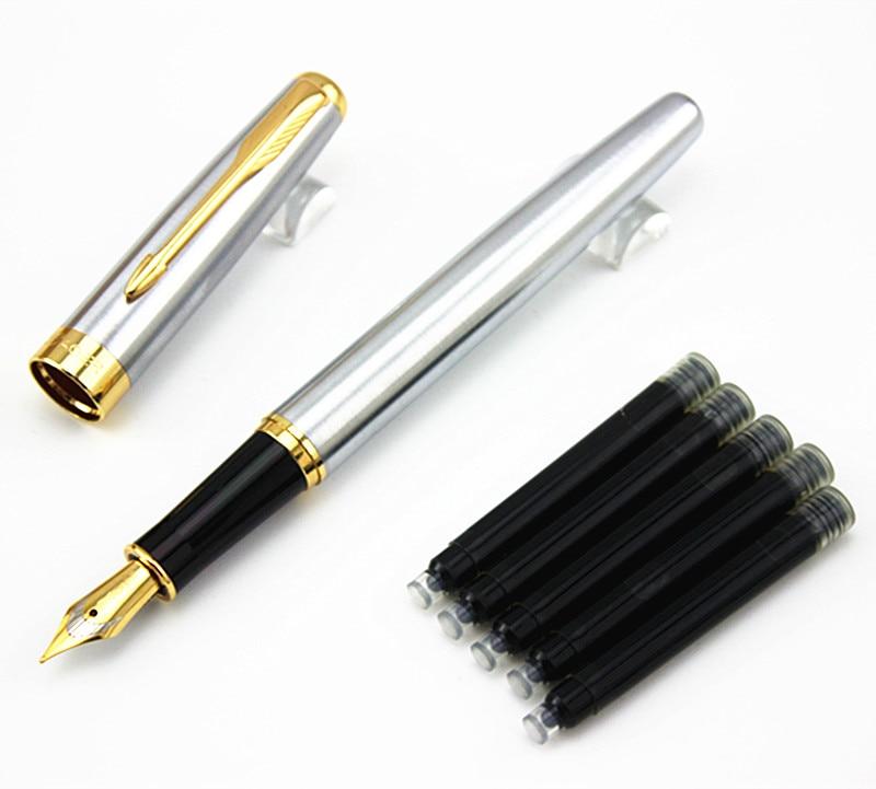 Классическая Ручка-перьевая BAOER 388 из нержавеющей стали, бизнес-офисная ручка-фонтанчик среднего размера, новая чернильная ручка