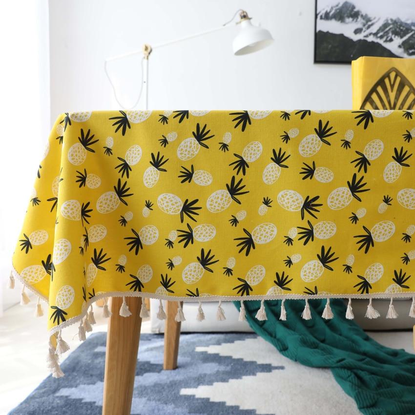 Mantel de algodón con estampado de piña para mesa rectangular, cubierta de tela de fondo, manteles de mesa rectangulares en tela