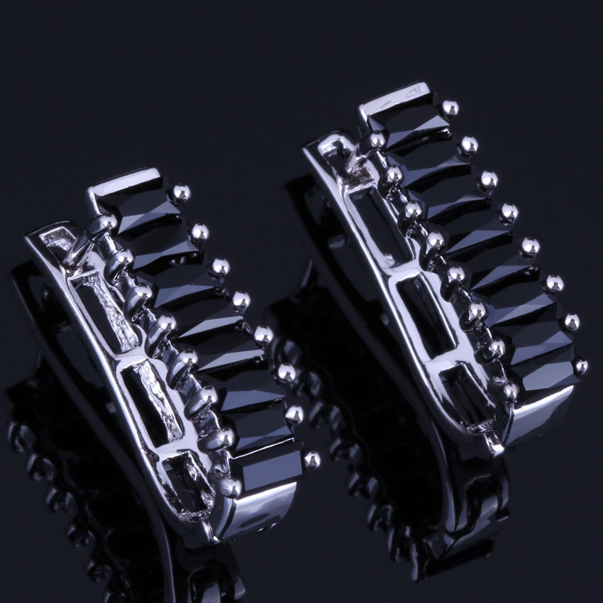Superb Black Cubic Zirconia Silver Plated Stamped 925 Clip Hoop Huggie Earrings For Women V0943