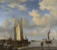 Réplique de peinture à lhuile célèbre   Navires # London, musée dart religieux, willem van de velde-néerlandais, pour la plage inshore et pour les hommes, vente en gros