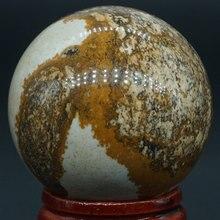 40MM Natürliche Edelstein Bild Jasper Stein Kugel Kristall Ball Reiki Healing Globe Home Decor