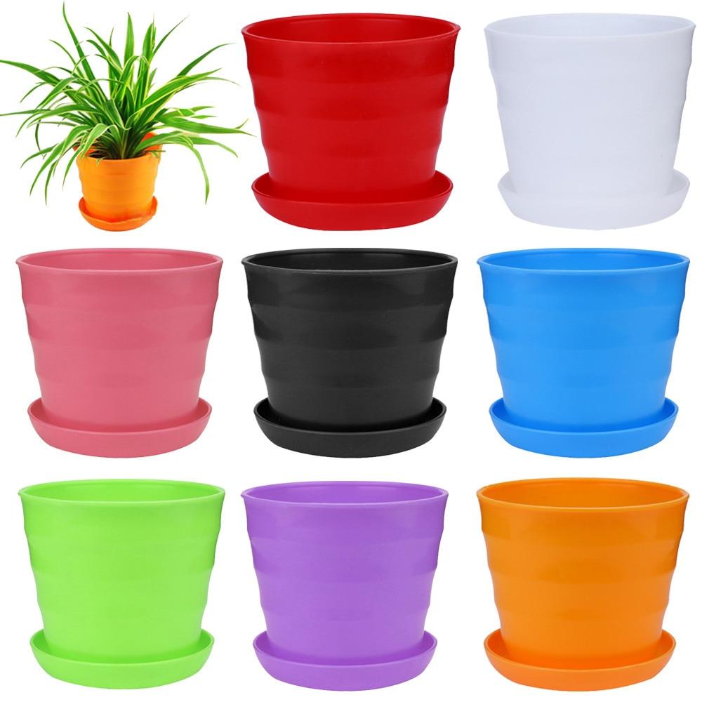 Gardening supplies 9*9*8cm Colourful Mini Plastic Flower Pot Succulent Plant Flowerpot Home Office Decor drop shopping 18 Sept 7
