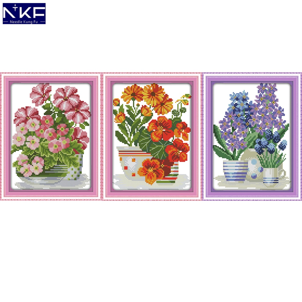 NKF Kits de point de croix estampillé   Série de fleurs en pot estampillé 11ct, ensemble de broderie 14ct, point de croix compilé, modèle de décoration de maison