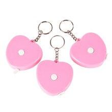 1pc plastikowa przenośna chowana różowa miłość kształt Mini taśma pomiarowa brelok do kluczy