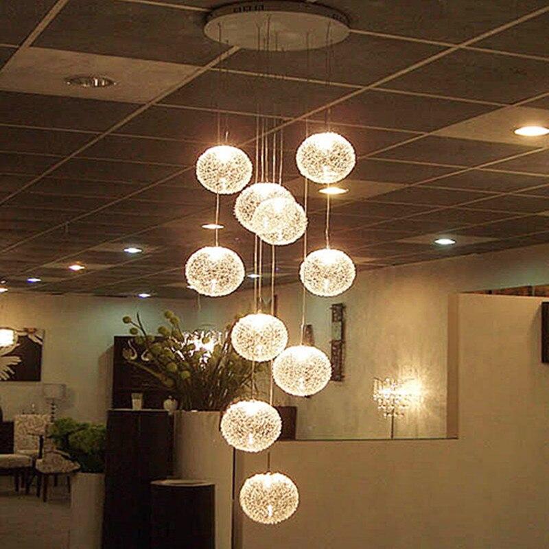 Lámpara moderna de techo de bola de cristal de globo largo de escalera de arañas LED grande con 10 bolas de accesorio de iluminación para el hogar de avize