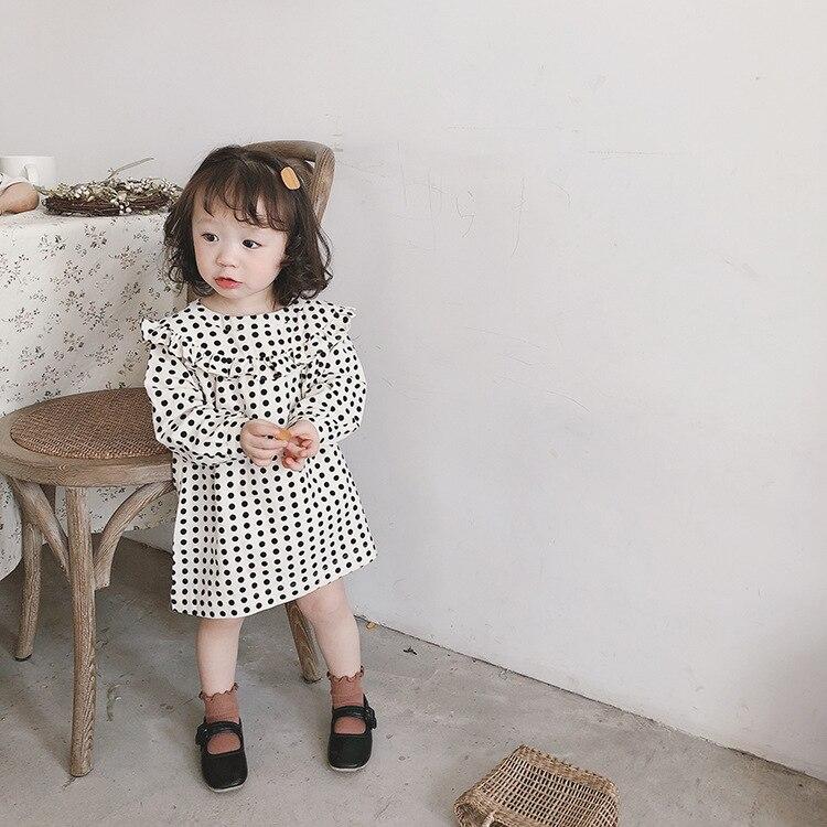 Весенние хлопковые льняные платья в горошек с длинными рукавами для маленьких