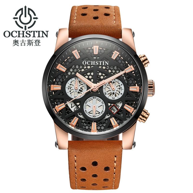 Reloj OCHSTIN para Hombre, Reloj Masculino a la moda para Hombre, cuero resistente al agua 30 M, Reloj deportivo, Reloj militar para Hombre