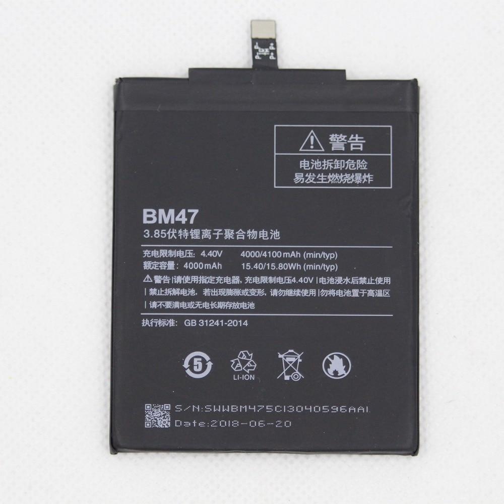 BM47 Replacement Battery For Xiaomi Redmi 3 3S 3X 4X Redmi3 Pro Hongmi Redrice 3 3s BM47 Mobile Phone Battery 4100mAh with Tools