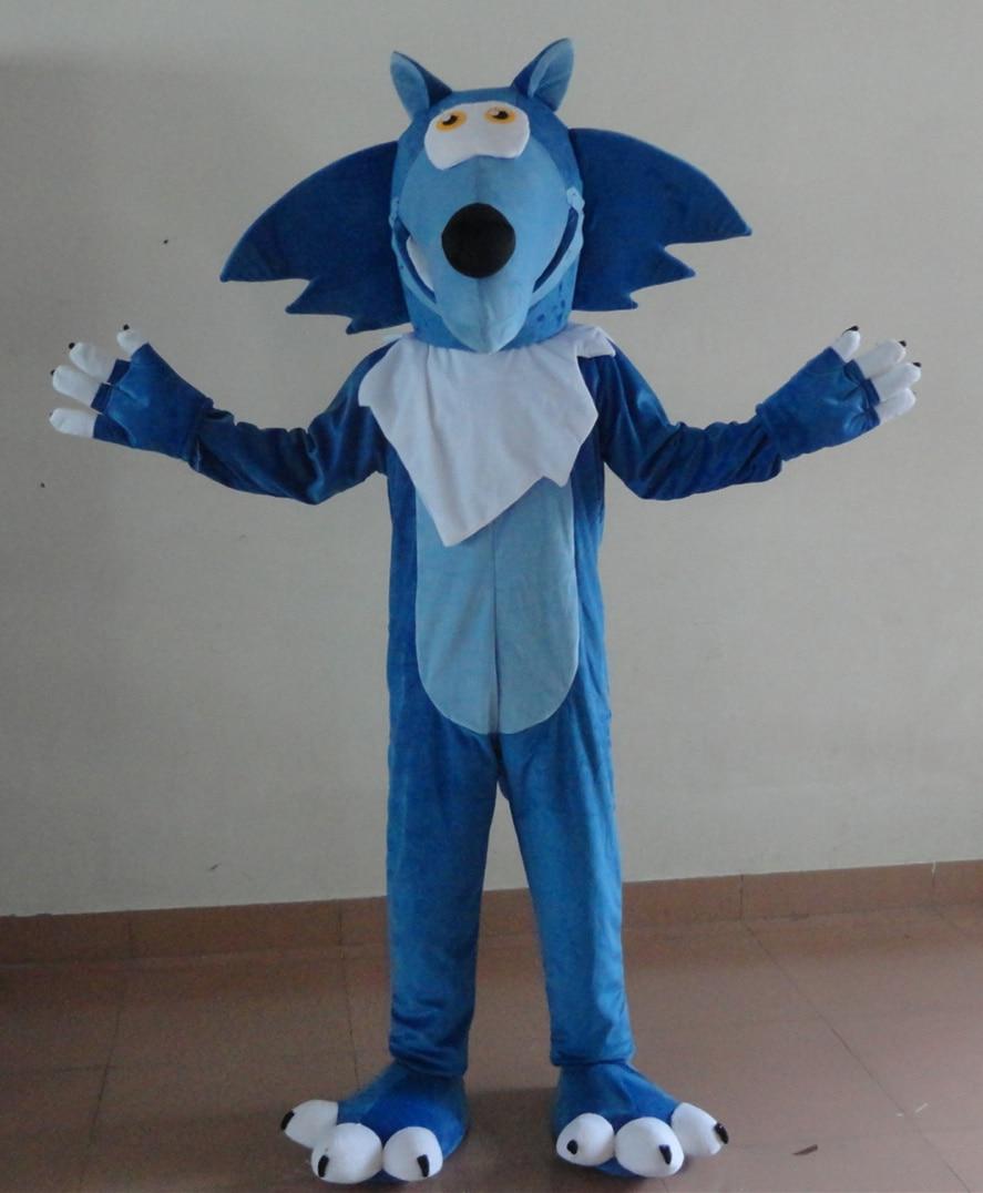 Disfraz 100% mascota de lobo azul para adultos