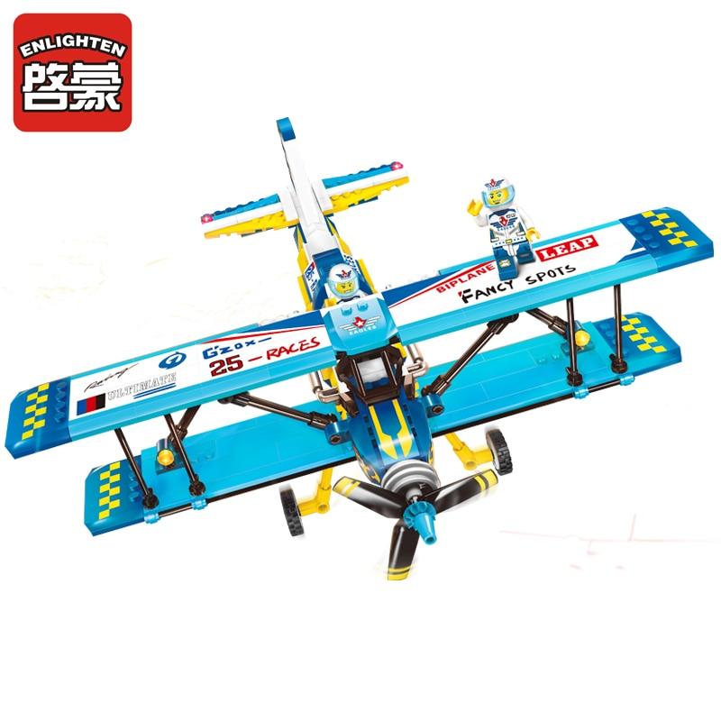 ENLIGHTEN City Educational Building Blocks Toys For Children Kids Gifts Military Army Plane Biplane Propeller Compatible Legoe