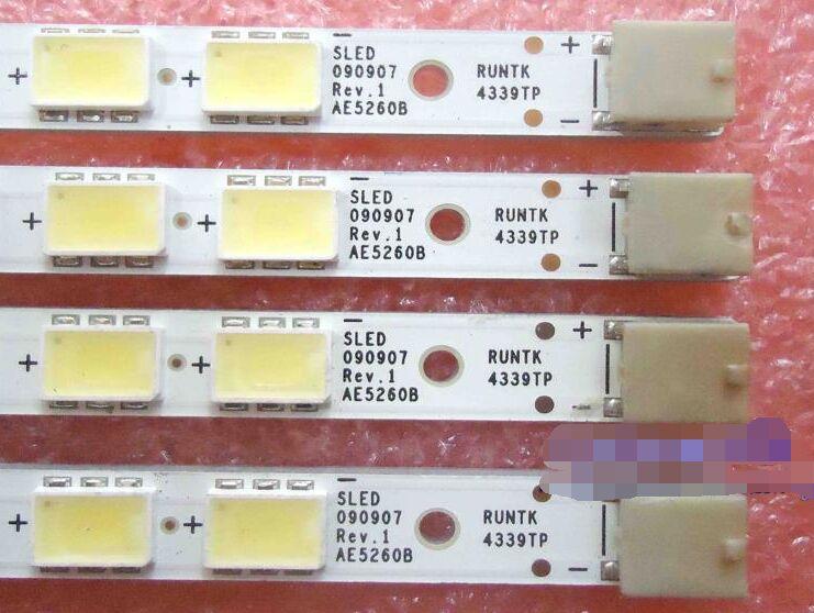 Beented 4 Piece/set LED strip SLED 090907 REV.1 AE5260B RUNTK 4339TP 4340TP for LK520D3LB1S KDL-52EX700 63 LED 585MM,used part