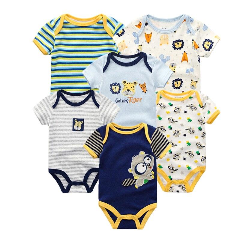 6 unids/lote de verano de manga corta conjunto de ropa de bebé niña mono de algodón para bebé niñas niño ropa para bebé (niño o niña)