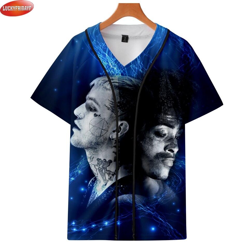 2018 xxxtentacion y lilpeep Hip Hop Baseball camisetas mujeres/hombres verano manga corta moda camiseta 3D impreso béisbol Tee camisa