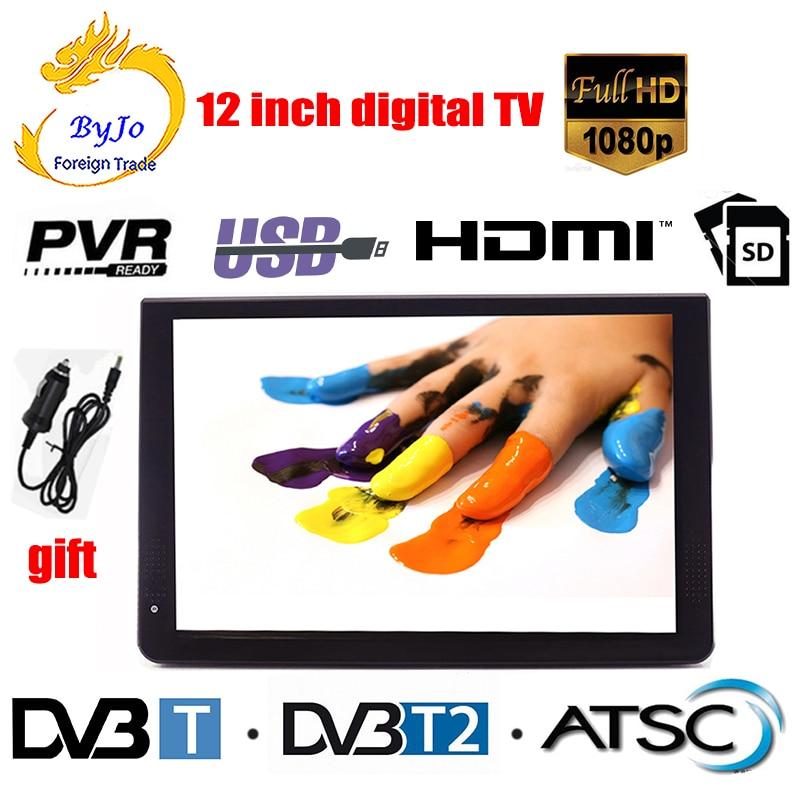LEADSTAR D12 12 pulgadas mini LED TV reproductor de televisión digital AC3 DVB-T T2 analógico ATSC TV portátil USB HDMI TF programas de TV y cargador de coche