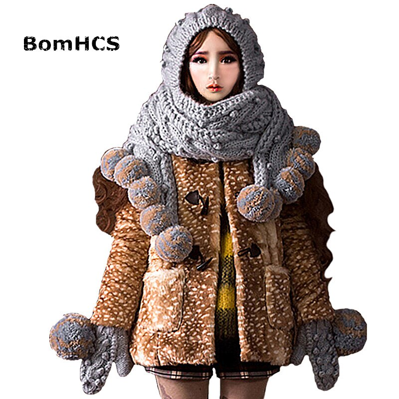 BomHCS Super Big Scarf Hat & Gloves Cute Women Winter Warm Beanie 100% Handmade Knit Caps Gift