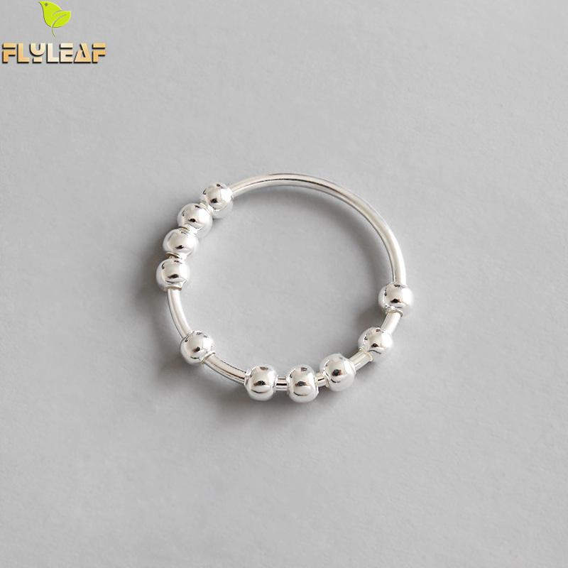 Flyleaf 100% 925 Sterling Silver Beaded Open Rings For Women 2018 New Trend INS Simple Style Lady Fashion Jewelry