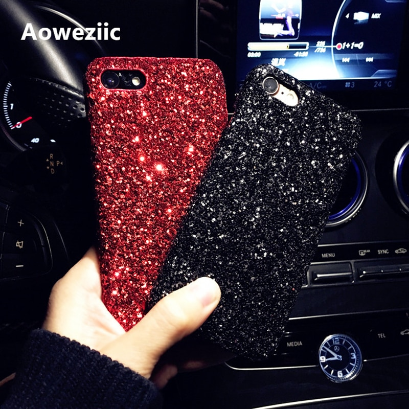 Aoweziic New glitter sequins For iphone 6s X XS MAX XR phone cases drop resistance 7plus 8Plus X female tide shell DIY