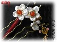 pearl agate gold plated peach blossom yan ran xiao hair comb classical hanfu accessory hair stick handmade hair accessory