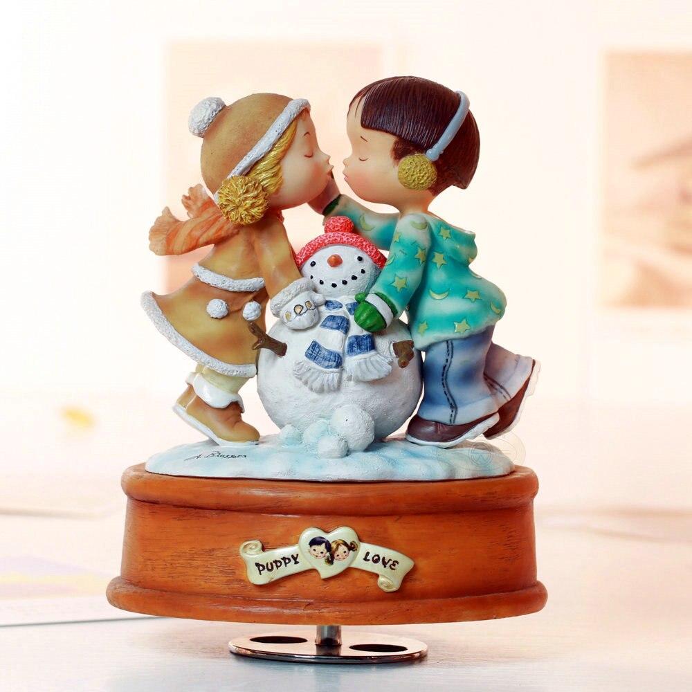 Caja de música giratoria Regalo de Cumpleaños muñeco de nieve regalos de boda y novia en Navidad para decoración del hogar envío gratis