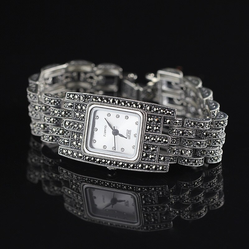 Gran oferta, reloj de pulsera clásico de plata HF para mujer S925, reloj de pulsera de plata pura, relojes de pulsera de plata pura, brazalete de plata Real