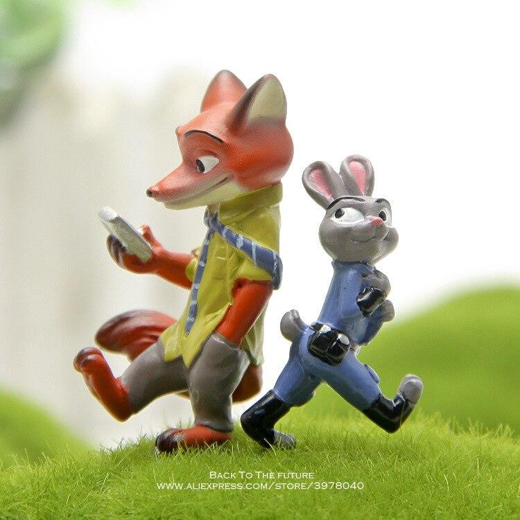 Disney zootrópolis Nick Fox Judy Rabbit 3-4cm figura de acción de decoración colección de muñecos de PVC figurita juguetes modelo para regalo de niños