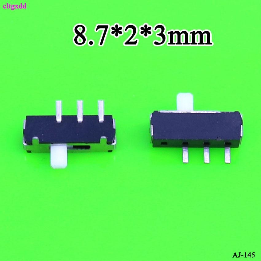 Cltgxdd, 1 Uds., interruptor deslizante en miniatura, 3 pines 2, reinicio derecho, Parche de montaje lateral jugable, 8,7x2x3mm