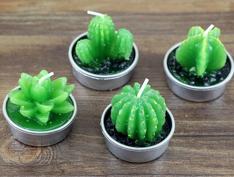 Mini velas de Cactus para decoración de fiesta de cumpleaños, decoración de boda, velas artificiales de plantas verdes, velas perfumadas SL13