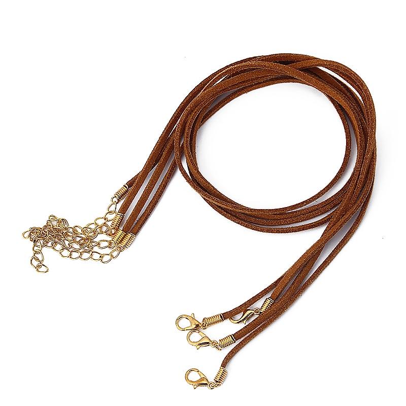 20pcs/ lot Khaki/Black Handmade Suede Velvet Leather Necklace String Lobster Clasp