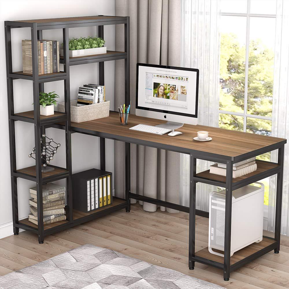 Большой компьютерный стол 67 дюймов с 9 полками для хранения, учебный стол, письменный стол, рабочая станция в деревенском стиле с книжной пол...