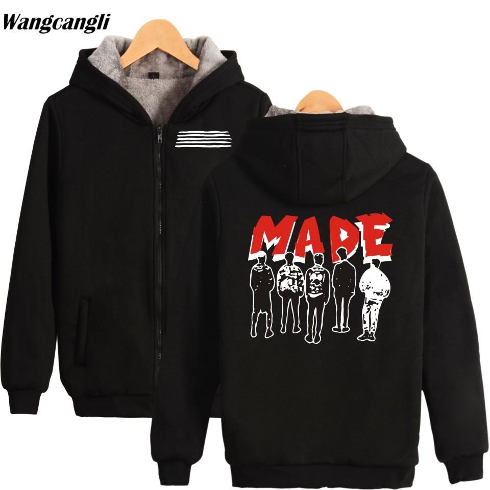 Sudadera con capucha de invierno KPOP BIGBANG, chaqueta cálida de lana gruesa, sudadera de manga larga con cremallera, sudadera para hombre y mujer