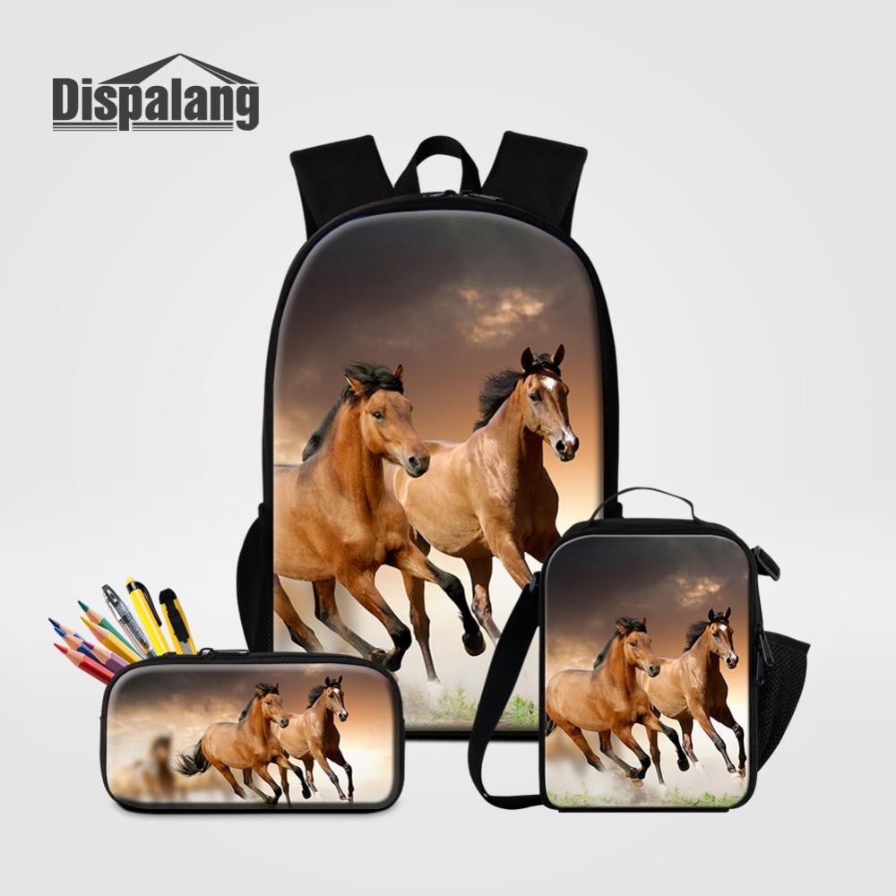 Dispalang 3Pcs/Set Large Backpacks Horse Printing School Bags and Cooler Bag For Teenagers Men Backpack Shoulder Bag Pencilbag