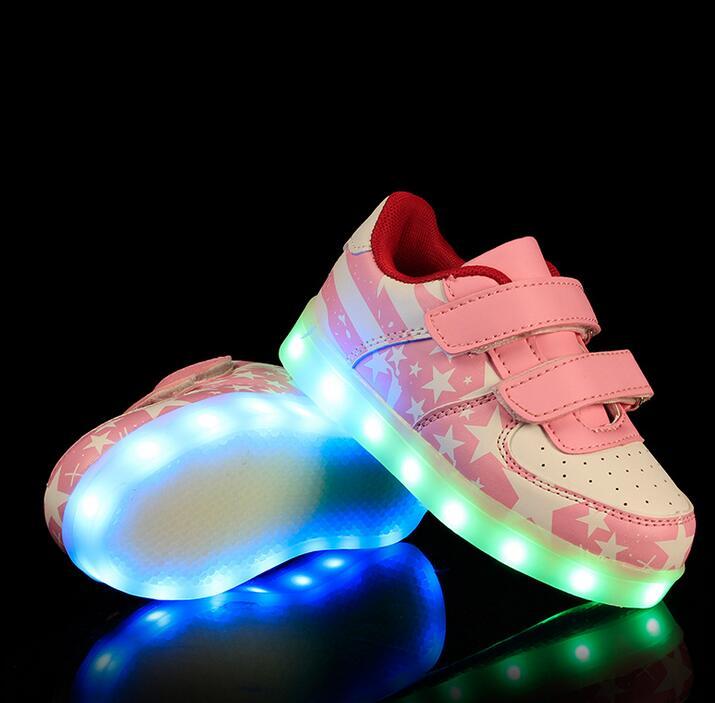 2018 nuevo moda con carga USB colorido brillante zapatos de estudiante niño fluorescencia fantasma luces LED luminoso deporte de las niñas