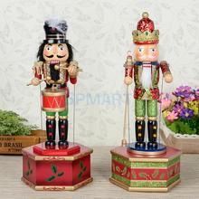 32cm Klassische Hand Gemalt Holz Nussknacker König/Schlagzeuger Soldat Modell Musik Box Wind Up Spielzeug Weihnachten Decor Ornamente weihnachten Geschenk