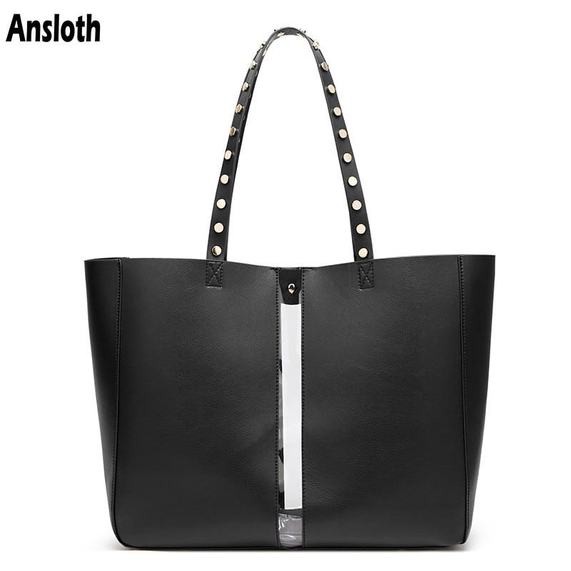 Ansloth Fashion Transparent Design Women Casual Tote Bags PU Leather Bag Rivet Handbag Trendy Shoulder Bags Women Bags HPS423