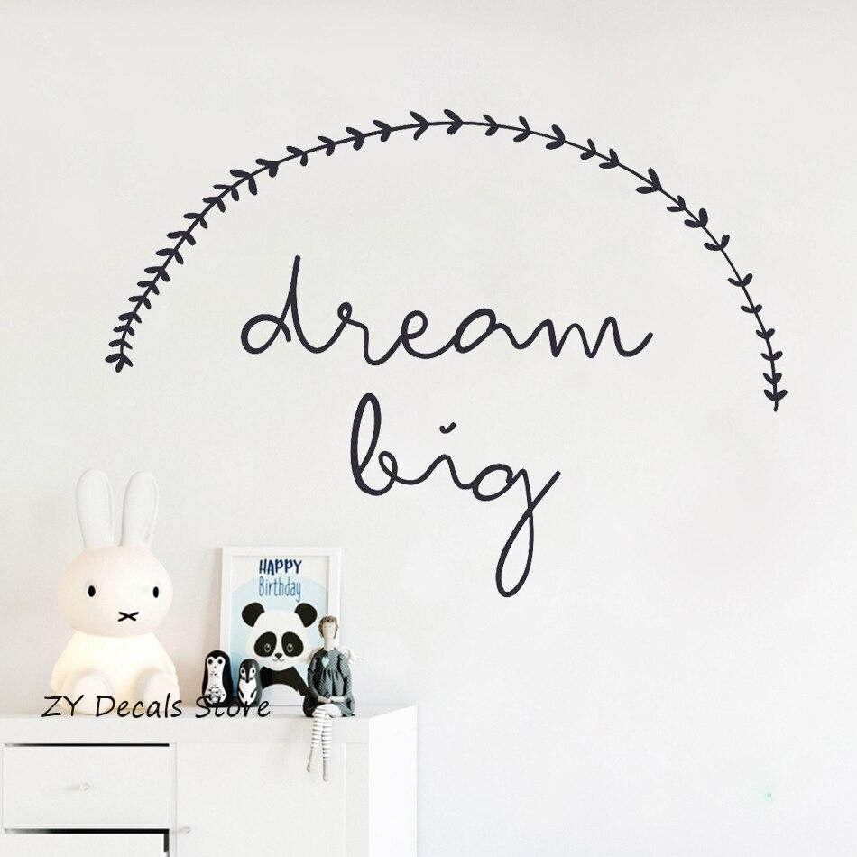 Dream Big pegatina de pared con texto para habitaciones de niños precioso vinilo pegatinas de pared dormitorio decoración del hogar impermeable arte calcomanía papel tapiz S620