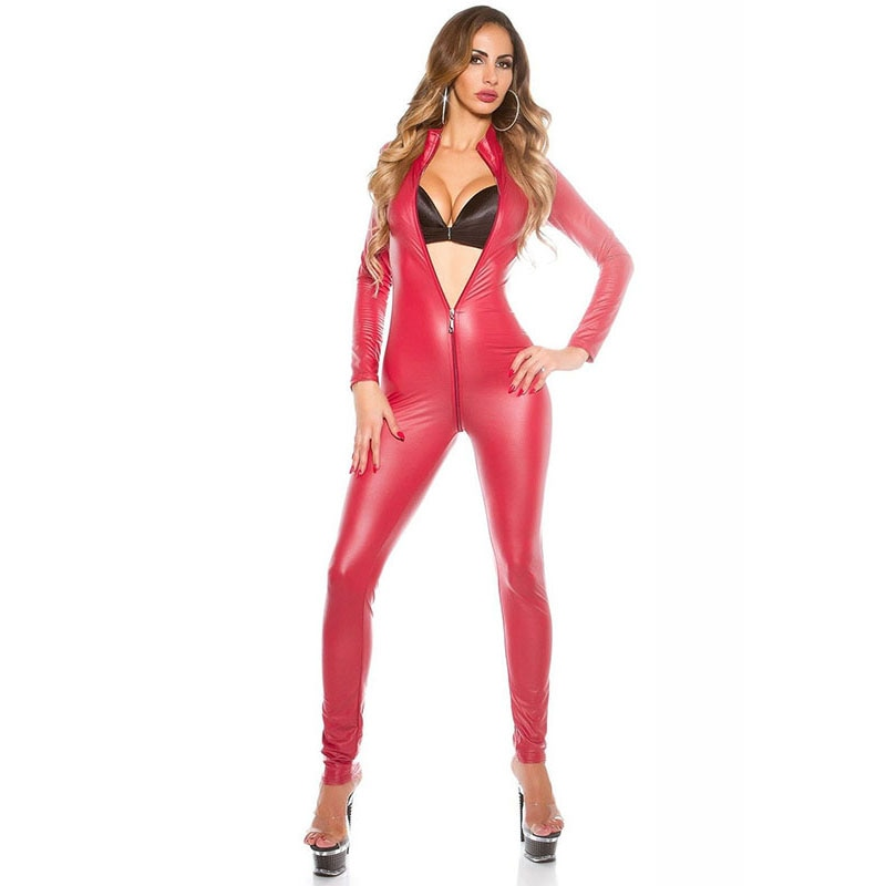 Femmes noir rouge solide Sexy body vinyle Latex cuir Catsuit Zipper ouvert entrejambe moulante combishort Clubwear Wetlook Costume XXL