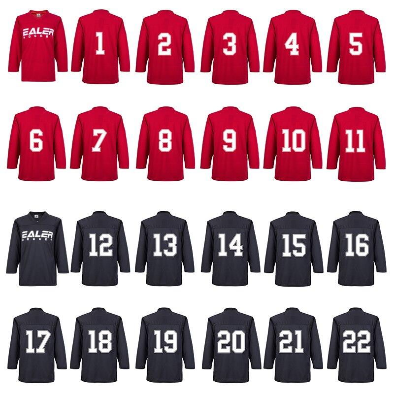 Envío Gratis camisas de Hockey sobre hielo negro para entrenamiento con números traseros (Por favor, deje nota para números traseros, si no hay nota, enviará #1