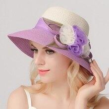 Recién llegado sombrero de Sol de ala ancha sombrero de paja de verano de mujer estudiantes flor delgada gorra de playa para sol chicas fuera de viaje B-7709