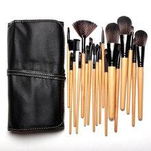 Professionelle 18 Stücke Natürliche ziegenhaar Black & Holzgriff Pinsel Für Make-Up Sets Kits Mit Schwarze Tasche