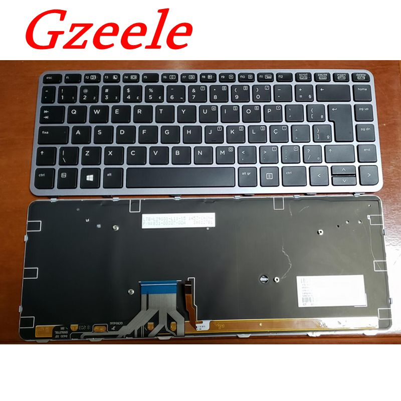GZEELE nuevo para HP EliteBook Folio 1040 Brasil teclado portugués MP-13A13USJ442 P/N 736933-001 con marco plateado retroiluminado
