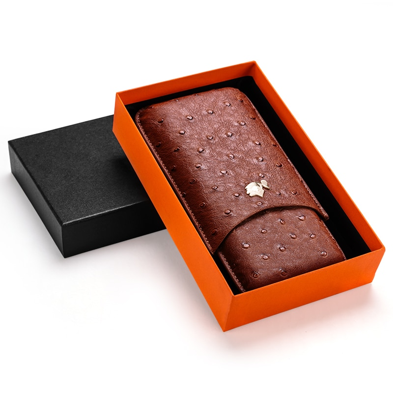 Cigar case cow leather ostrich skin cigar moisturizing case portable cigar holster can store 3 sticks gift boxes CF-0401