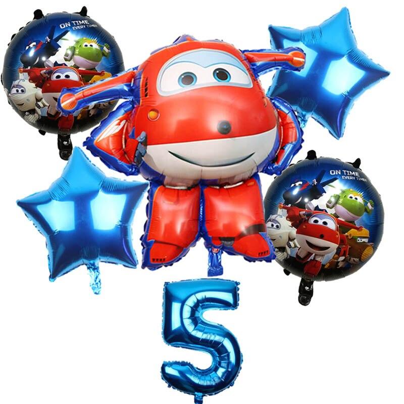 6 uds 3D superalas globo Jett Globos superalas juguetes decoraciones para fiesta de cumpleaños 32 pulgadas número globo Set Globos suministros