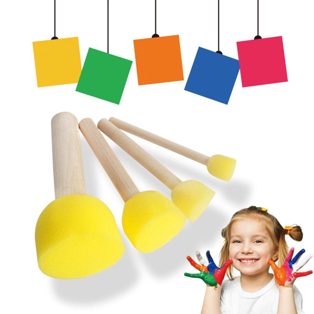 4 Uds. Juguetes redondos de dibujo de grafiti regalo para niños pincel de pintura esponja mangos de madera