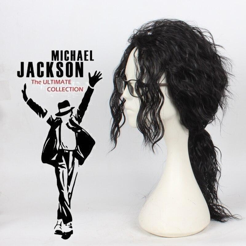 أنيمي مايكل جاكسون طويل أسود شعر مستعار مجعد تأثيري حلي الشعر MJ جودة عالية لعب الأدوار الباروكات شحن مجاني