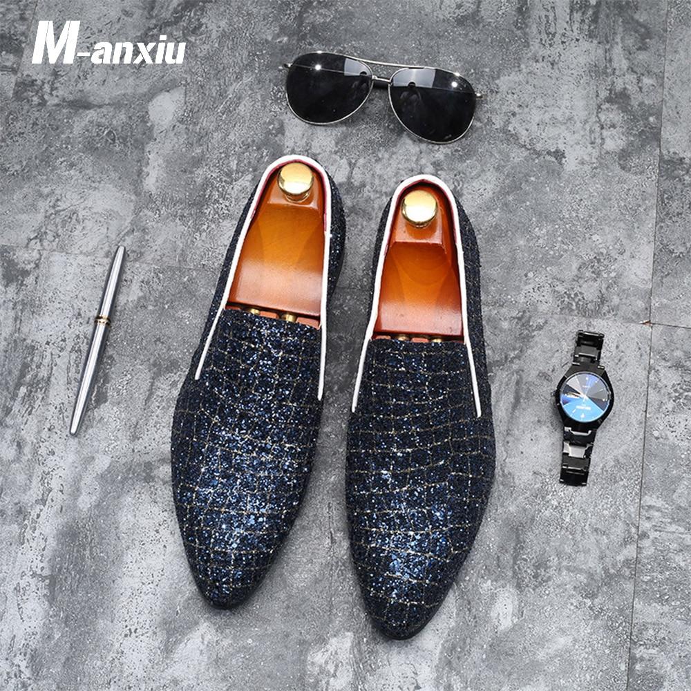 M-anxiu 2020 New Fashion Men Shine Crocodile Grain Low Heel Dress Shoes Casual Wedding Formal Flat Breathable Shoes