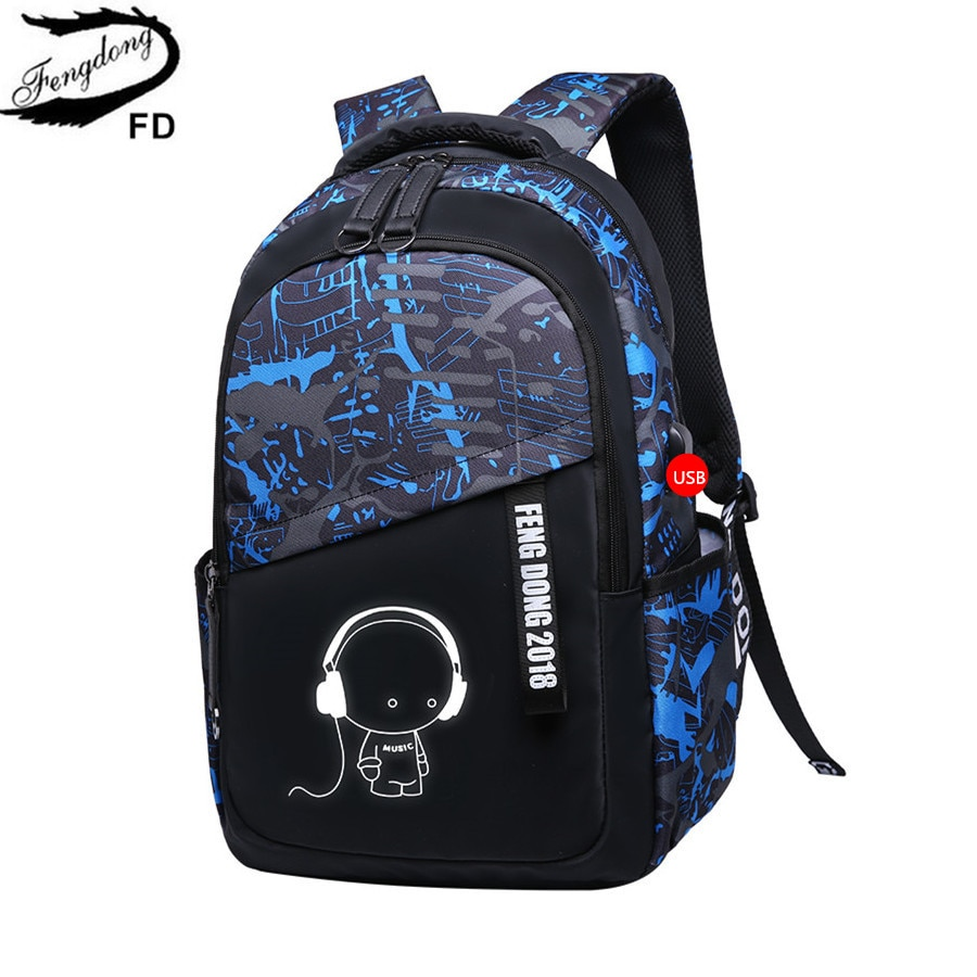 FengDong, mochila escolar de niños grande impermeable, mochilas escolares, mochilas escolares para adolescentes, mochila para ordenador portátil, mochila escolar